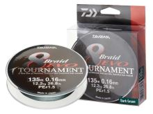 Daiwa - Pletená šnůra TOURNAMENT 8 BRAID EVO dark green 0,10mm 135m